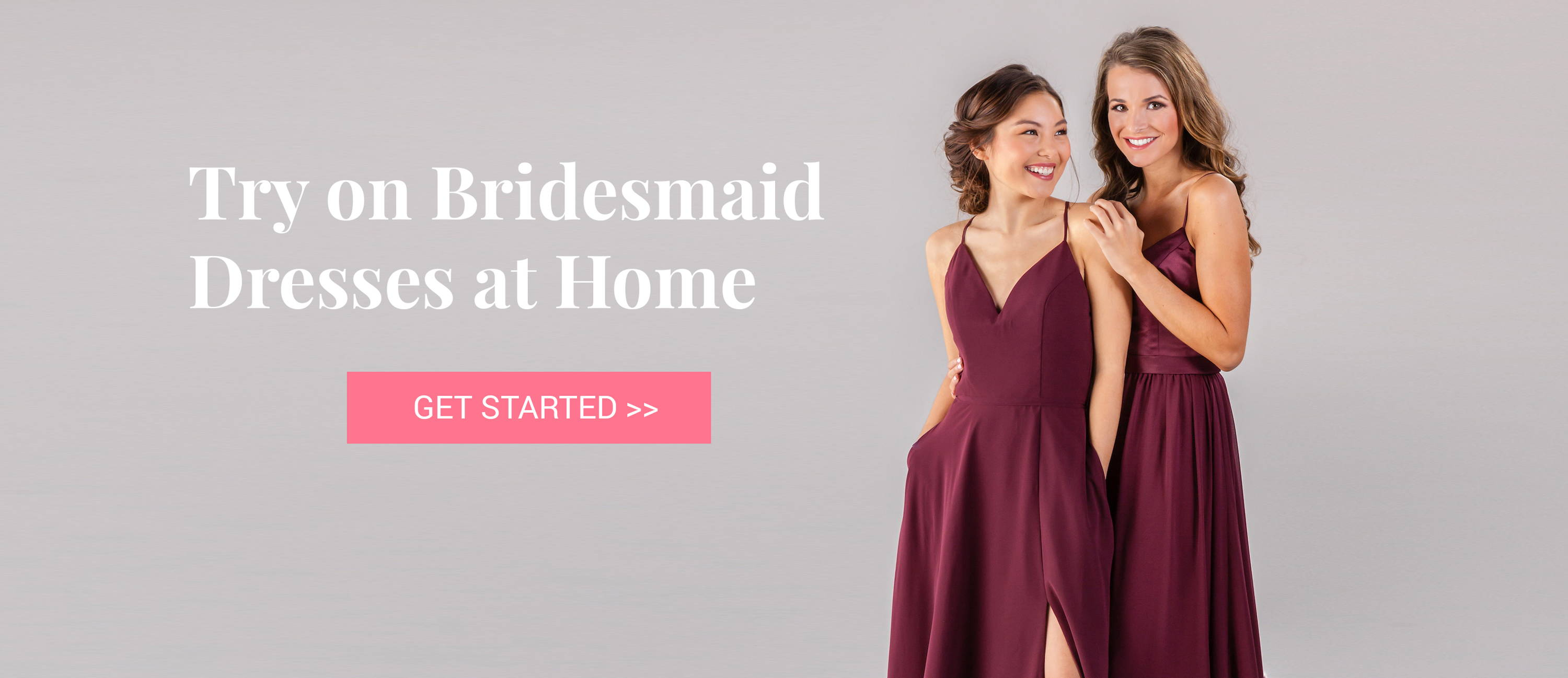 Try on bridesmaid dresses at home remember when shopping for bridesmaid dresses was fun now its crowded dressing rooms busy schedules confusing sizing unreliable colors ombrellifo Gallery