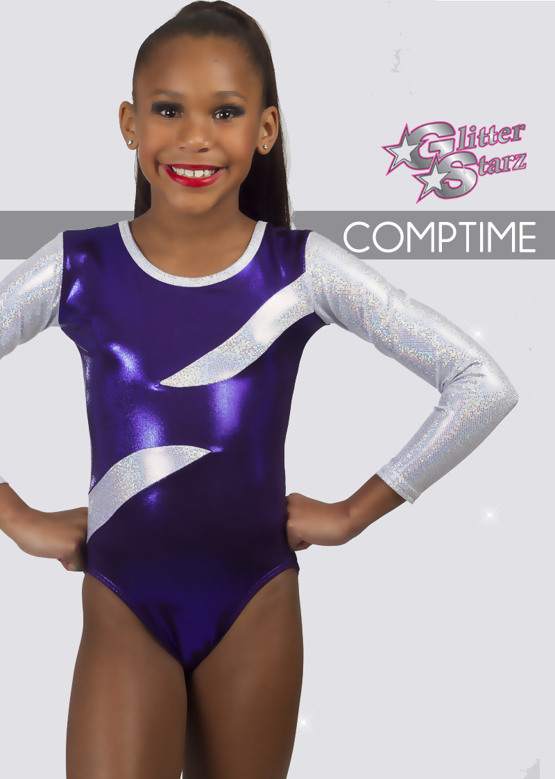 be03ec8c209 glitterstarz custom leotard purple silver metallic stretchy dancewear  gymnastics
