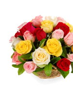 hf Mix Roses Basket Arrangement