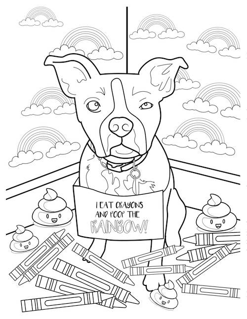 i eat crayons dog coloring page