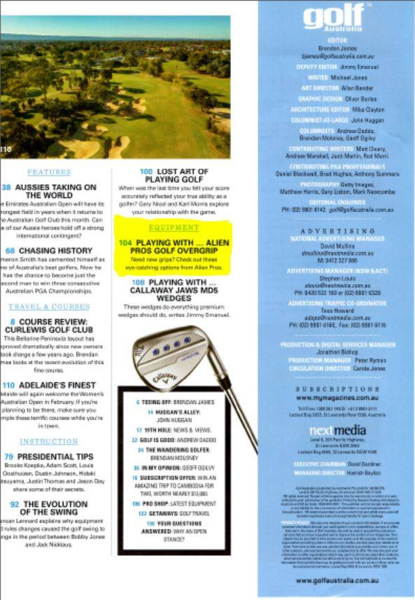 Golf Australia December Issue Index
