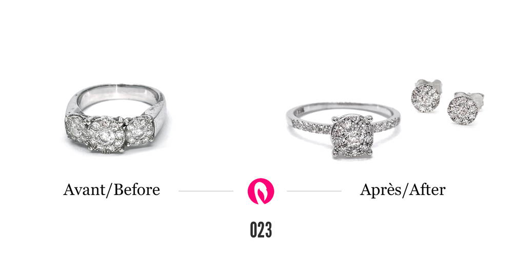 Bague en or blanc avec trois cercles composés de petits diamants autour d'un diamant pour un total de 33 diamants transformées en un solitaire semi éternité avec un seul cercle cette fois. Transformées aussi en boucles d'oreilles avec les cercles de diamants.