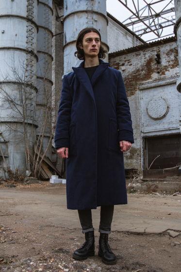 Зимнее синее пальто унисекс