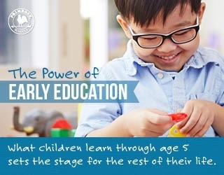 Power of early education poster featuring a happy young boy playing with colorful discs