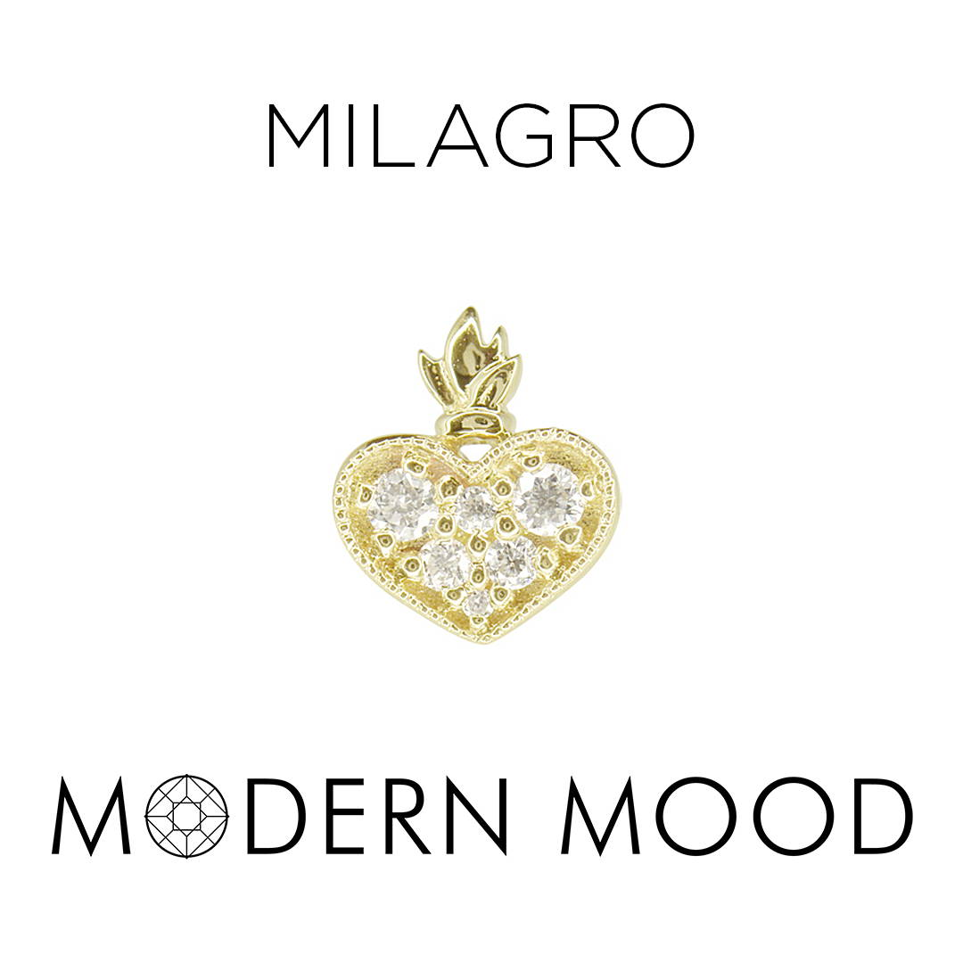 burning heart corazon milagro diamond piercing jewelry