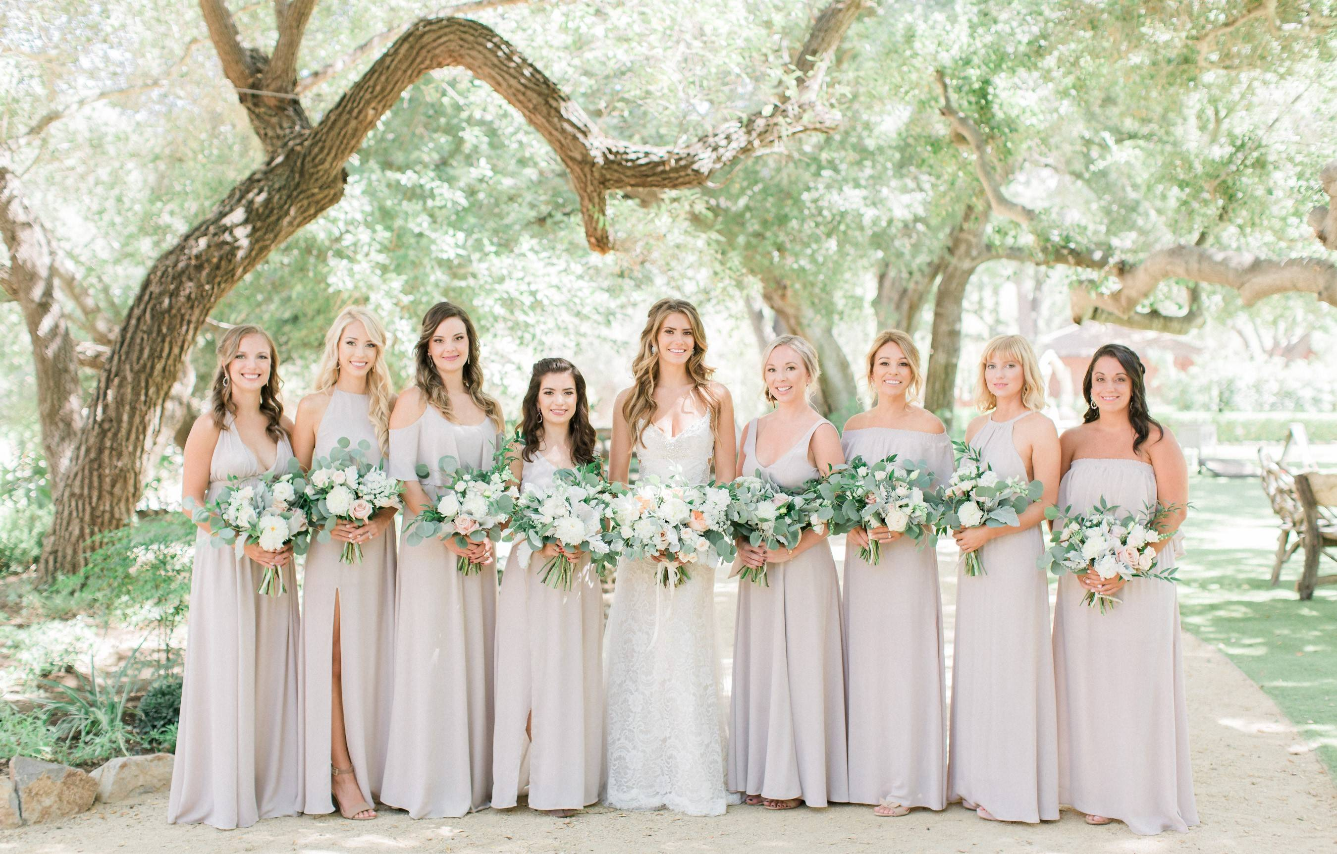 Bohemian wedding, romantic bridal bouquet, lush wedding, Los Angeles florist, Vave, bridesmaids bouquets