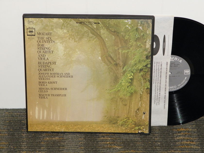 "Budapest String Quartet - Mozart ""The Six Quintets for String Q'tet & Viola Columbia D3S 747 360""First labels"" STEREO 3LP boxset"