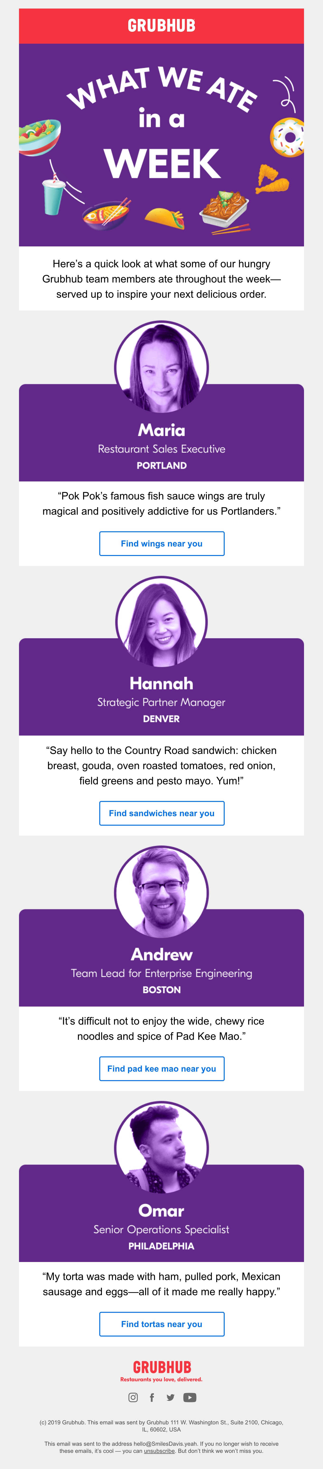 Email about what Grubhub team members ate in a week.
