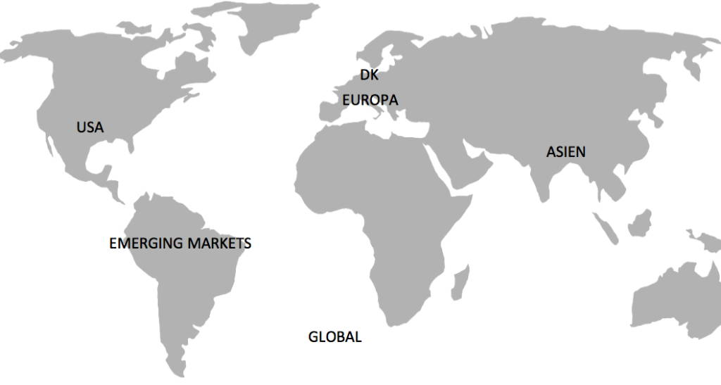 Et verdenskort, som viser at Sydamerika er emerging markets