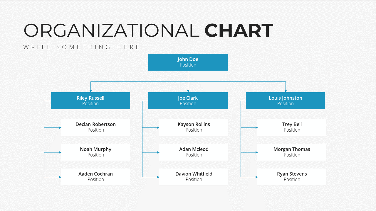 Minimal X Project Proposal Presentation Template Organizational Chart