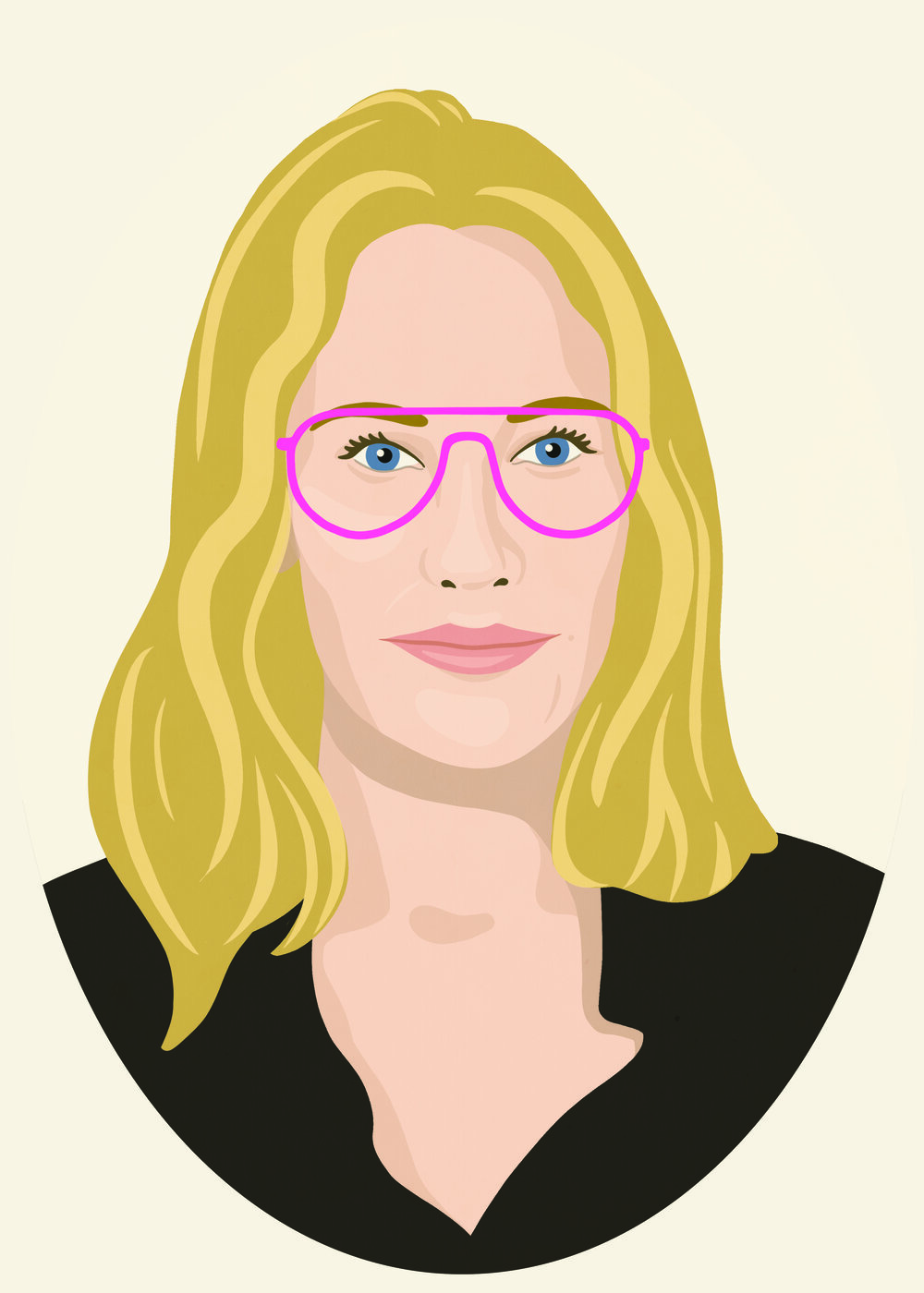 A portrait of Jennifer wearing framed glasses. The style is with no sharp lines and wavy lines.