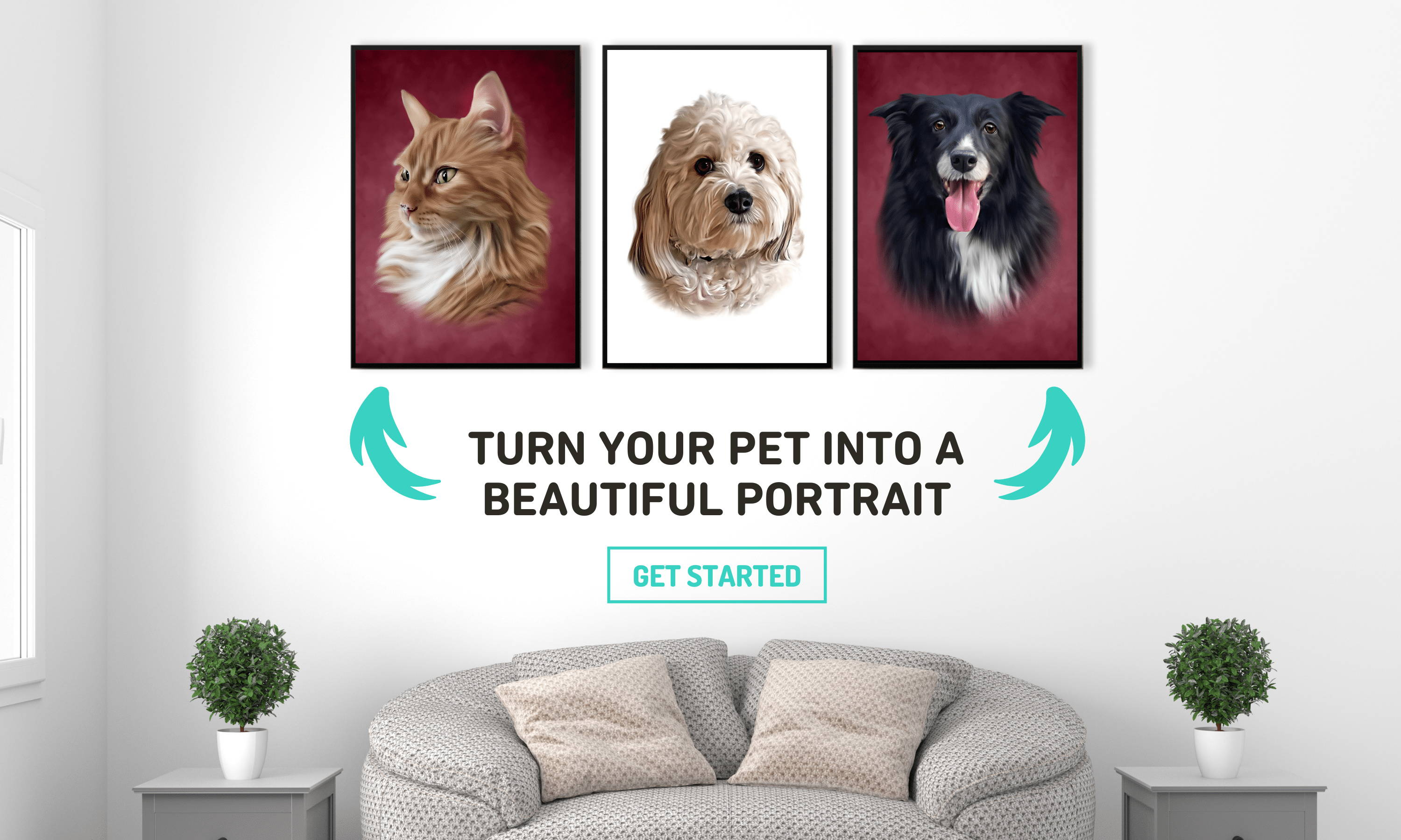 Living room with 3 picture frames of a cat and dogs