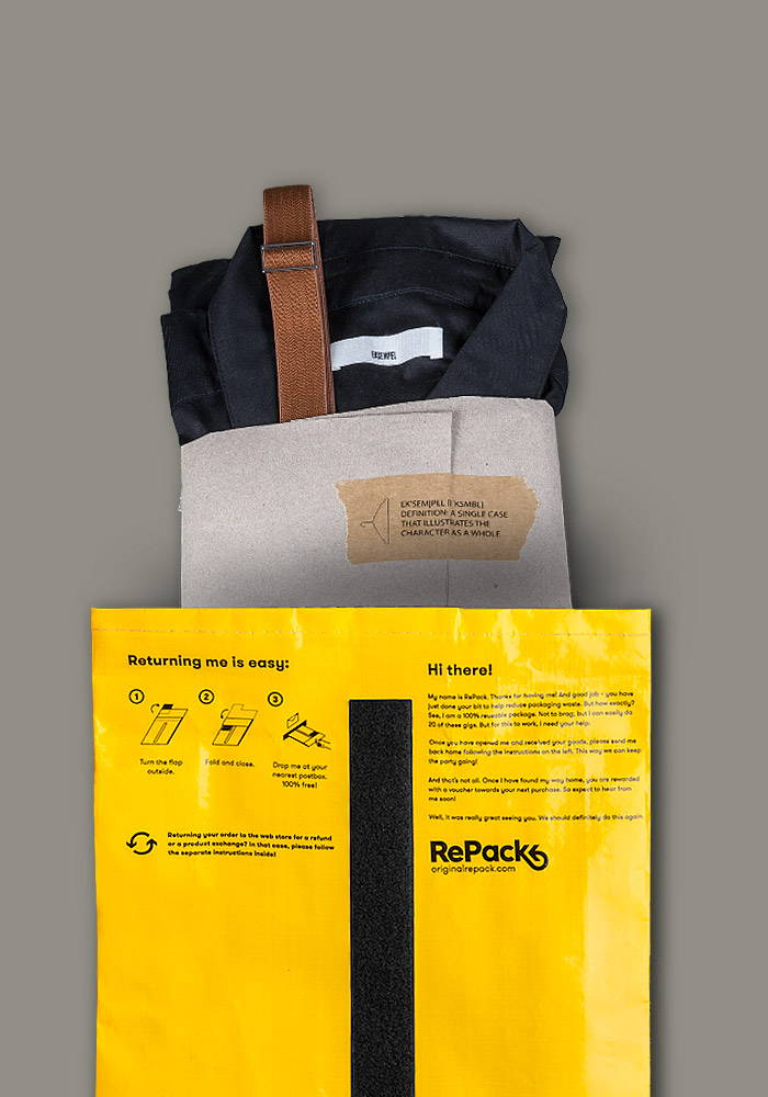 repack bag with sustainable organic dress