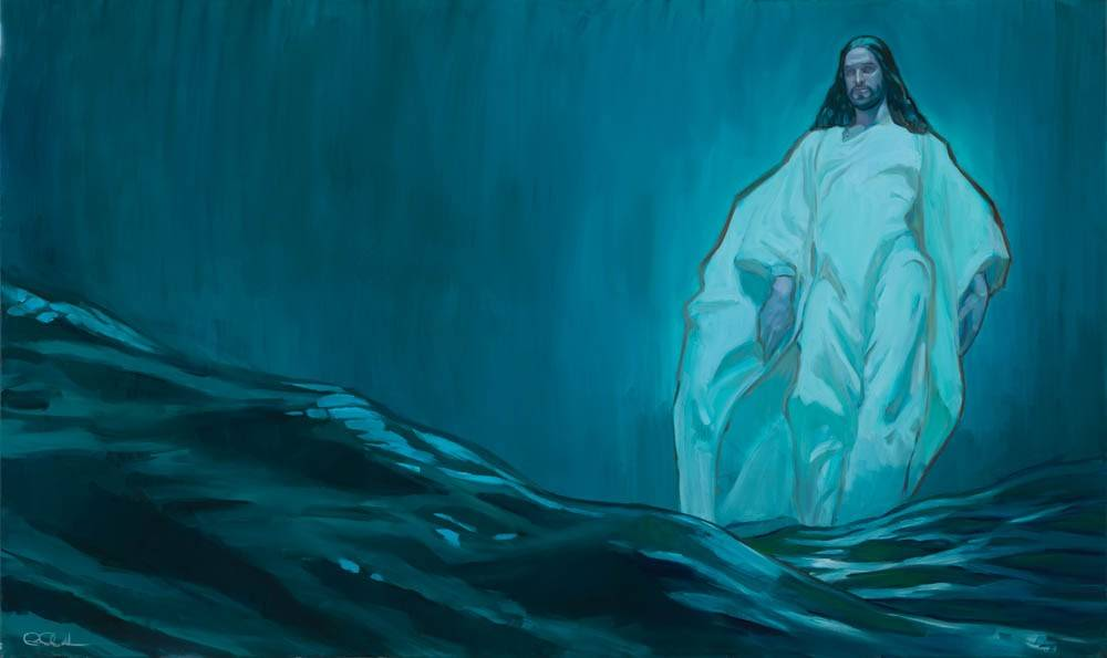 Painting of Jesus walking on the water.