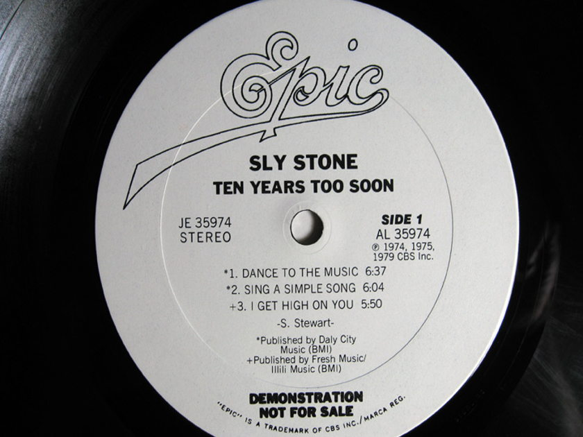 Sly Stone - Ten Years Too Soon - White Label Promo 1979  Epic JE 35974