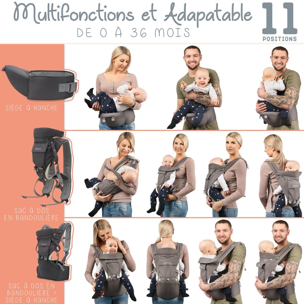 Porte-Bébé Multifonctions, Adaptable & Évolutif