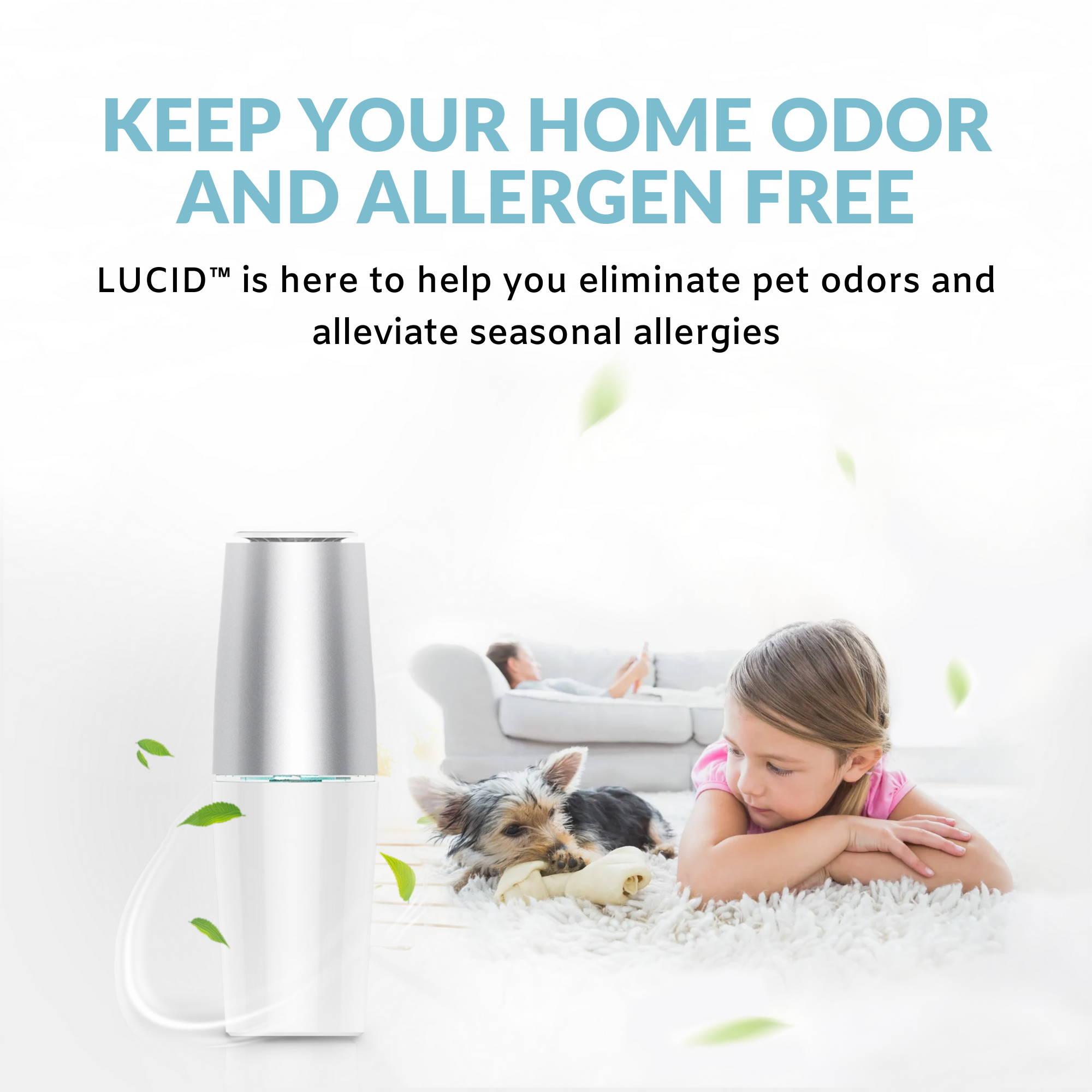LUCID Air Purifier, pet odor air purifier, plug in air purifier, portable cordless air filter, uv air purifier kill viruses