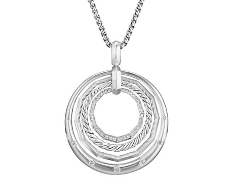 David Yurman Stax Medium Pendant Necklace with Diamonds, 32mm