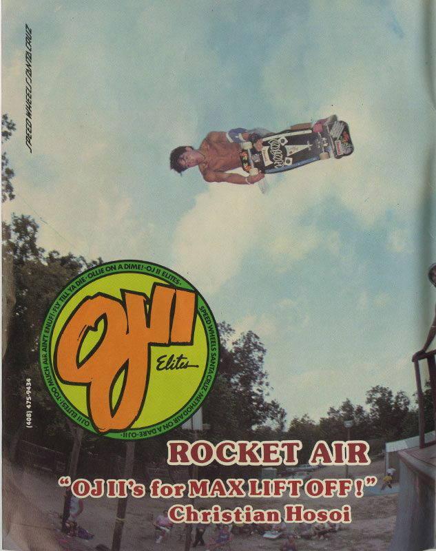 Christian Hosoi pubblicità ruote da skateboard OJ Wheels su Thrasher Magazine