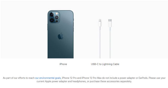 No longer includes a power adapter or EarPods