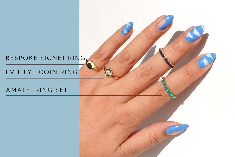 Bespoke Signet Ring | Evil Eye Coin RIng | Amalfi Ring Set