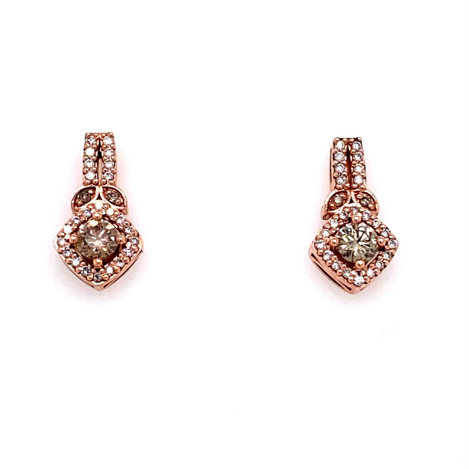 custom rose gold and diamond drop earrings