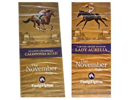 Lady Aurelia and Caledonia Road Fasig-Tipton Sales Banners