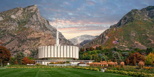 Provo Temple surounded by colorful trees.