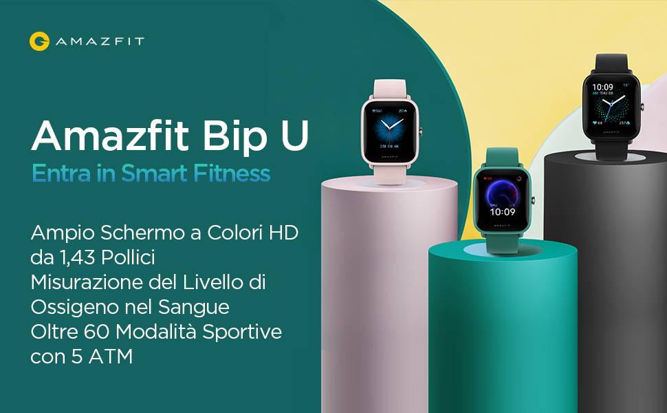 Amazfit Bip U: Entra in Smart Fitniess | Ampio Schermo a Colori HD da 1,43 Pollici | Misurazione del Livello di Ossigeno nel Sangue Oltre 60 Modalita Sportive con 5 ATM