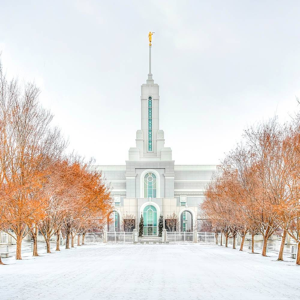 LDS art photo of the MT Timpanogos Temple and autumn trees after a snowfall.