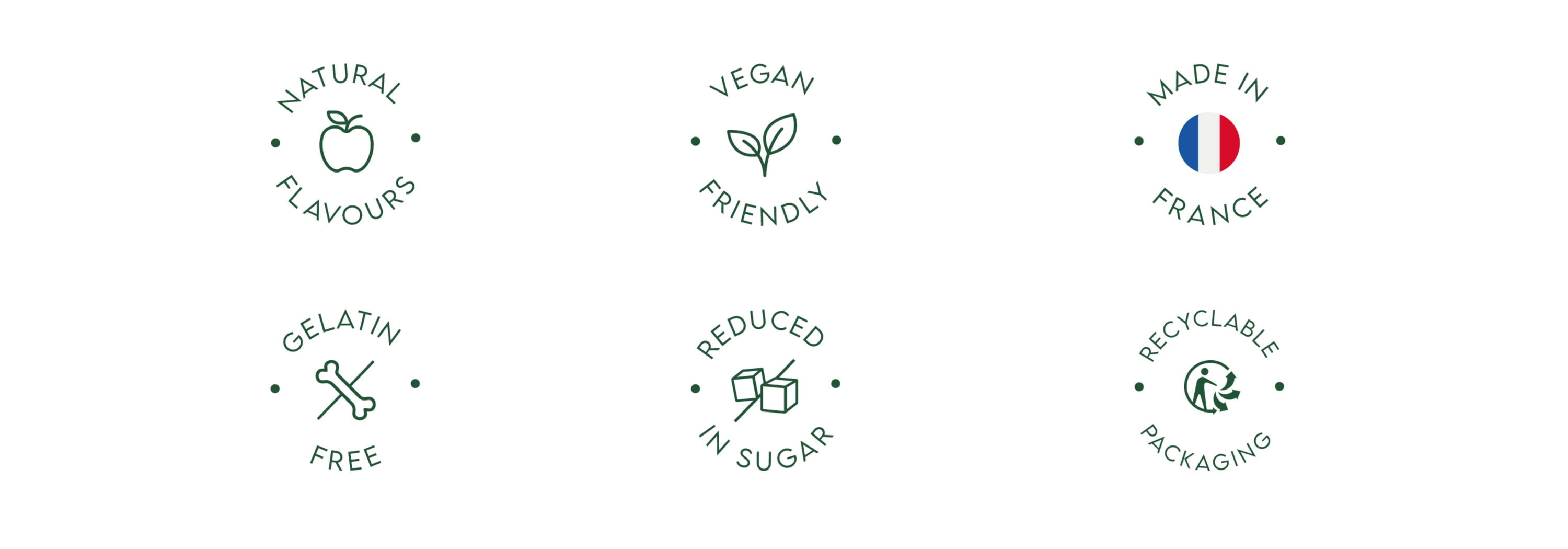 Natural flavours, vegan friendly, made in france, gelatin free, reduced in sugar, recyclable packaging gummy vitamins