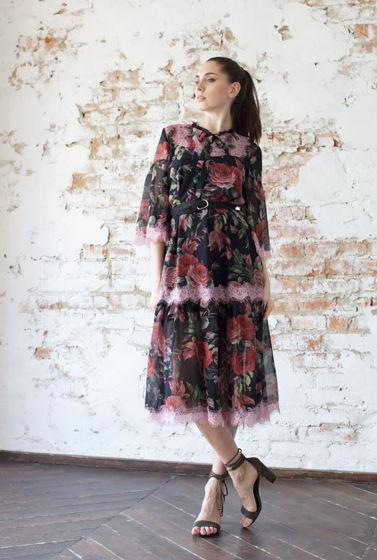 Шифоновое кружевное платье