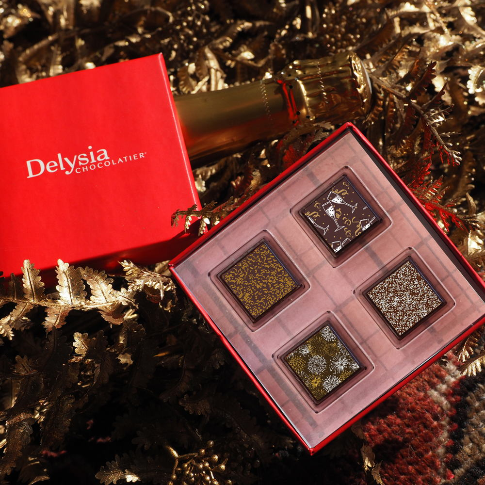 Picture of Ring in the New Year and break tradition with Delysia Chocolatier's roaring twenties inspired 'Cheers to the New Year' virtual chocolate pairing experience of Champagne and Chocolate.