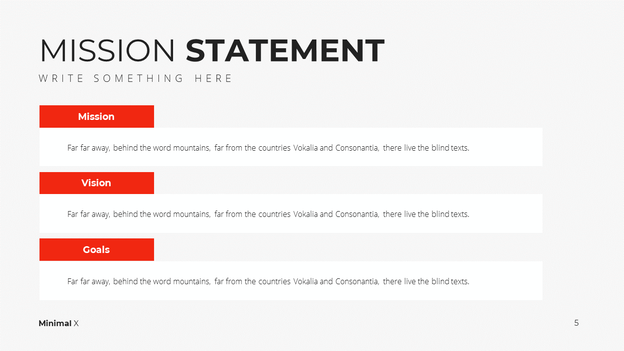 Minimal X Presentation Template Business Plan Mission Statement