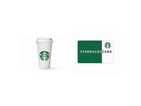 Two (2) Starbucks Reusable Travel Coffee Cups and Two (2) $25 gift cards