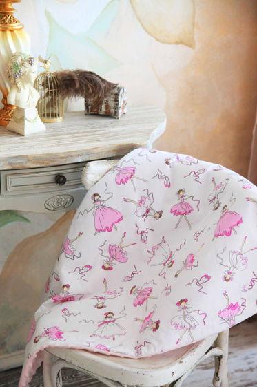 Одеялко из  хлопка розово-белых оттенков и розового плюша ручной работы