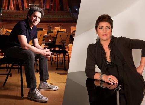 Director/director de orquesta Gustavo Dudamel  y compositora/curadora Gabriela Ortíz