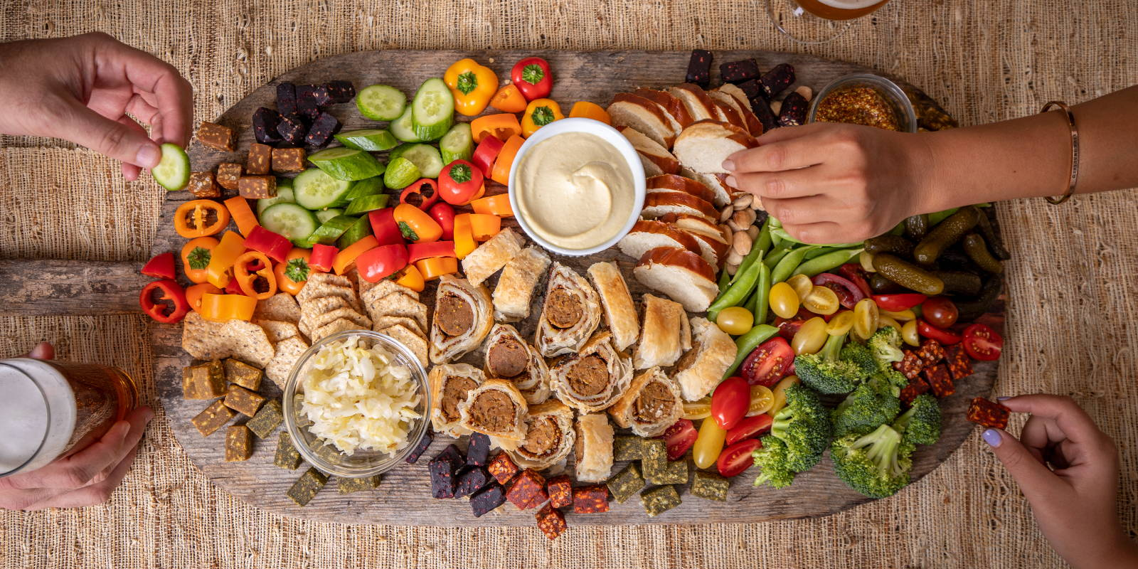 Big Oktoberfest party board for grazing on vegan, plant-based snacks.