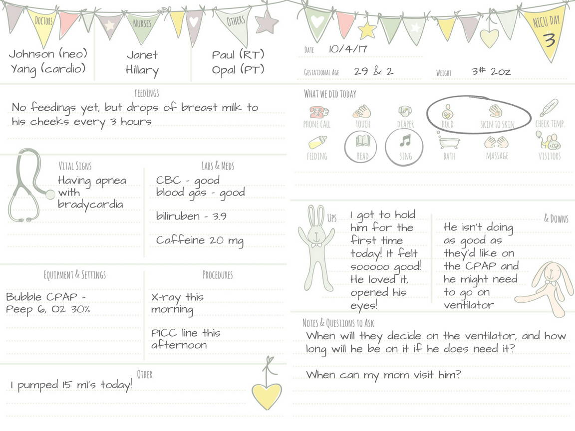 sample page of nicu journal for 29 weeker preemie in nicu