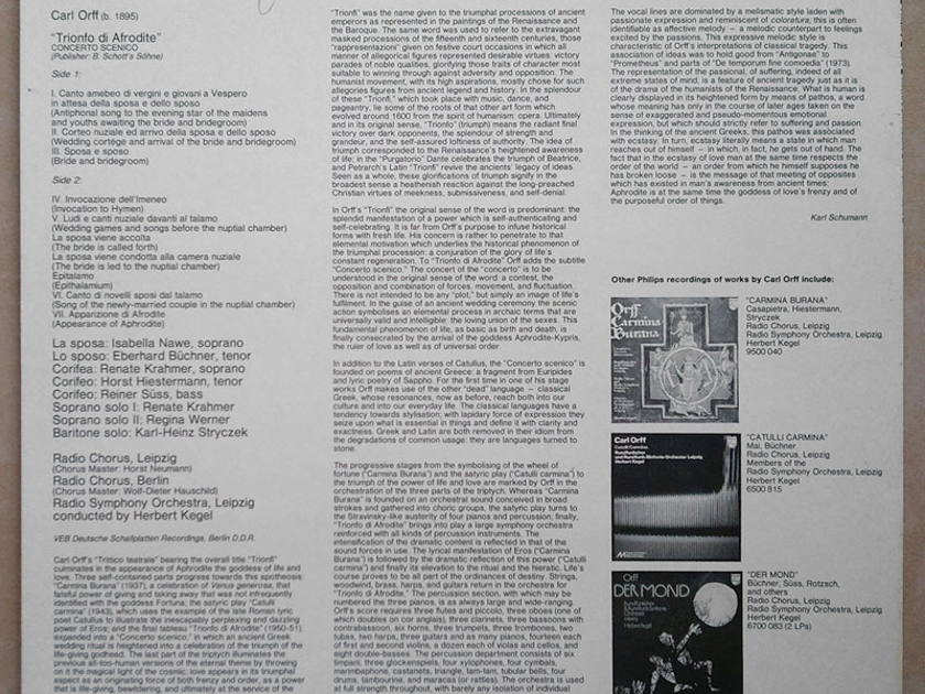 PHILIPS | KEGEL/ORFF - Trionfo di Afrodite / NM