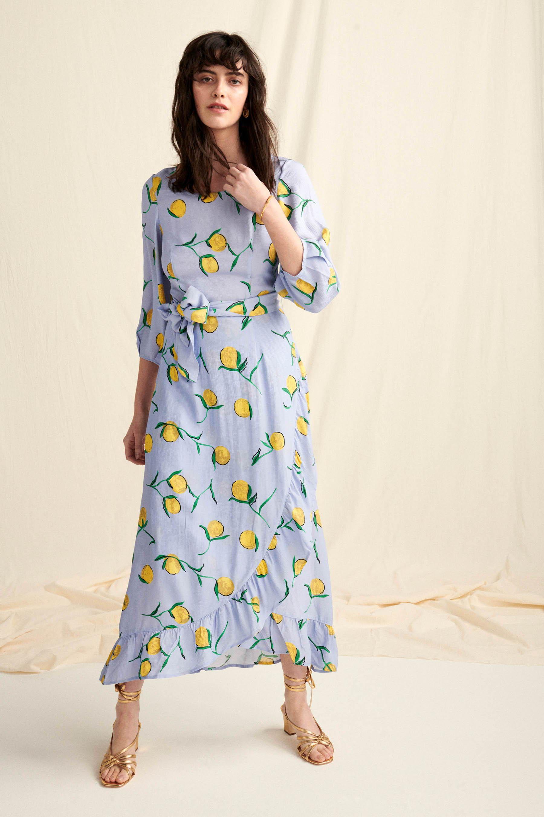 Lemon printed women's tiered frill skirt