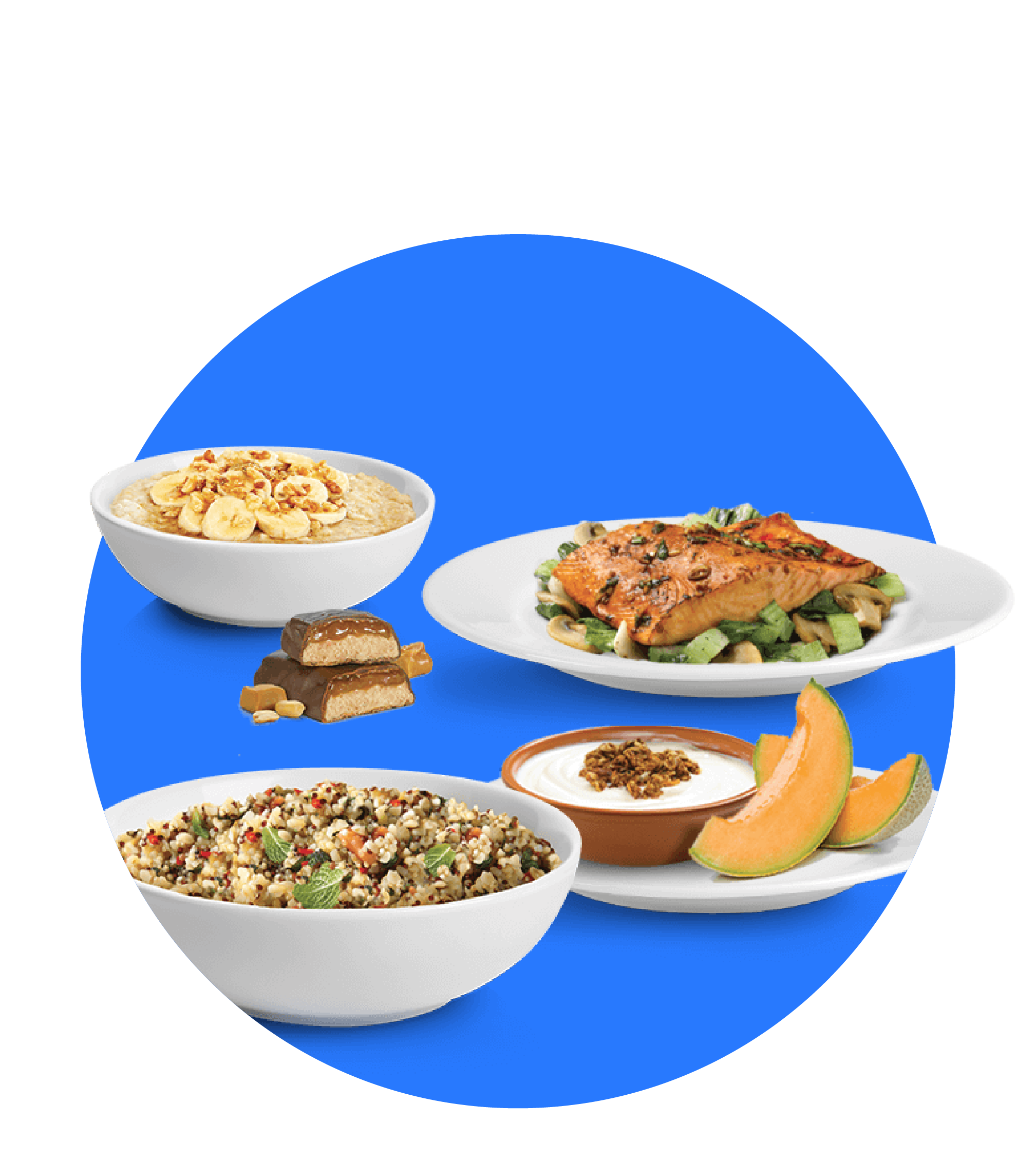 One bowl of cereal, a plate of chicken with vegetable, and a bowl of yogurt with a fruit