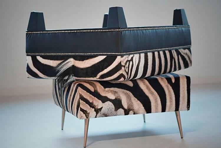 zebra ottoman skin rug