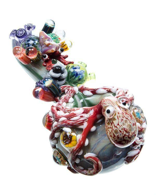 Artistic American Glass Octopus Spoon Pipe