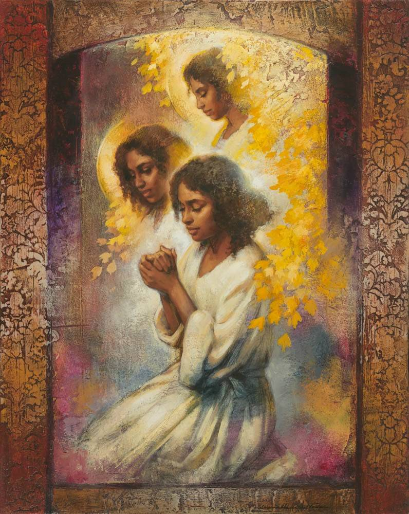 Angels surrounding a young woman in prayer.