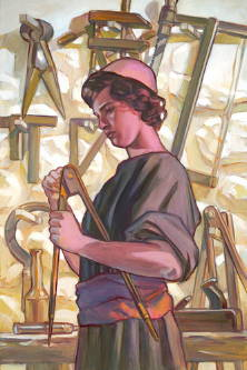 Painting of Jesus as an older child working in a carpentry shop.