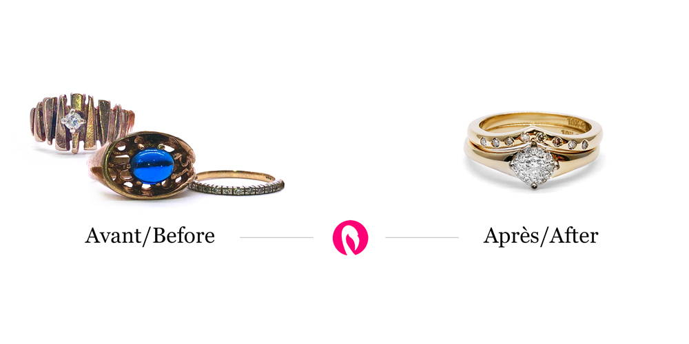 Transformation of several inheritance rings into a solitaire engagement ring with a 1 carat diamond and a wedding band.