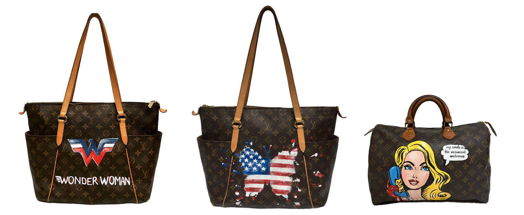 Custom painted Louis Vuitton bags