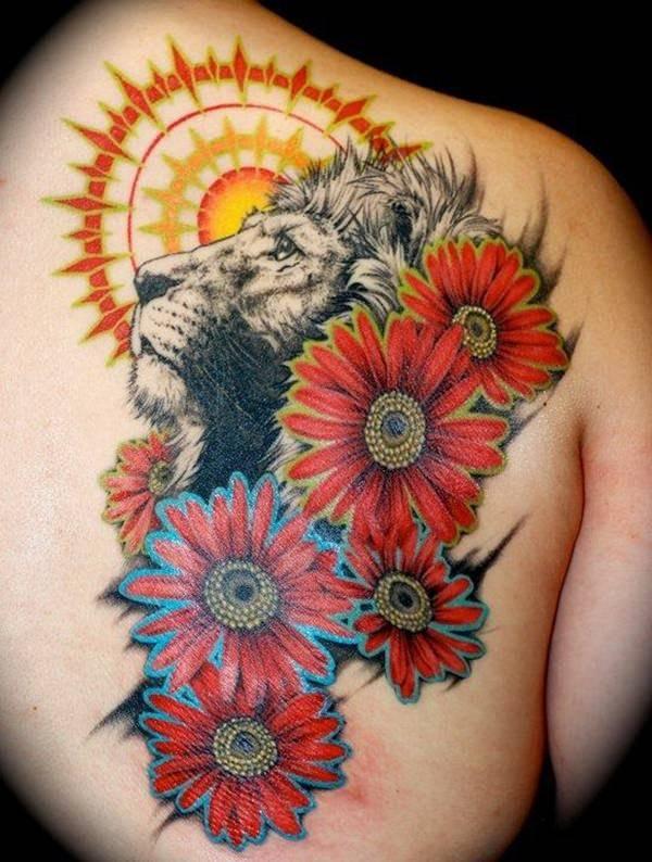 Tatouage Lion Fleurs