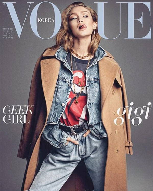 Vogue Korea using Lingerie Typeface with Gigi Hadid